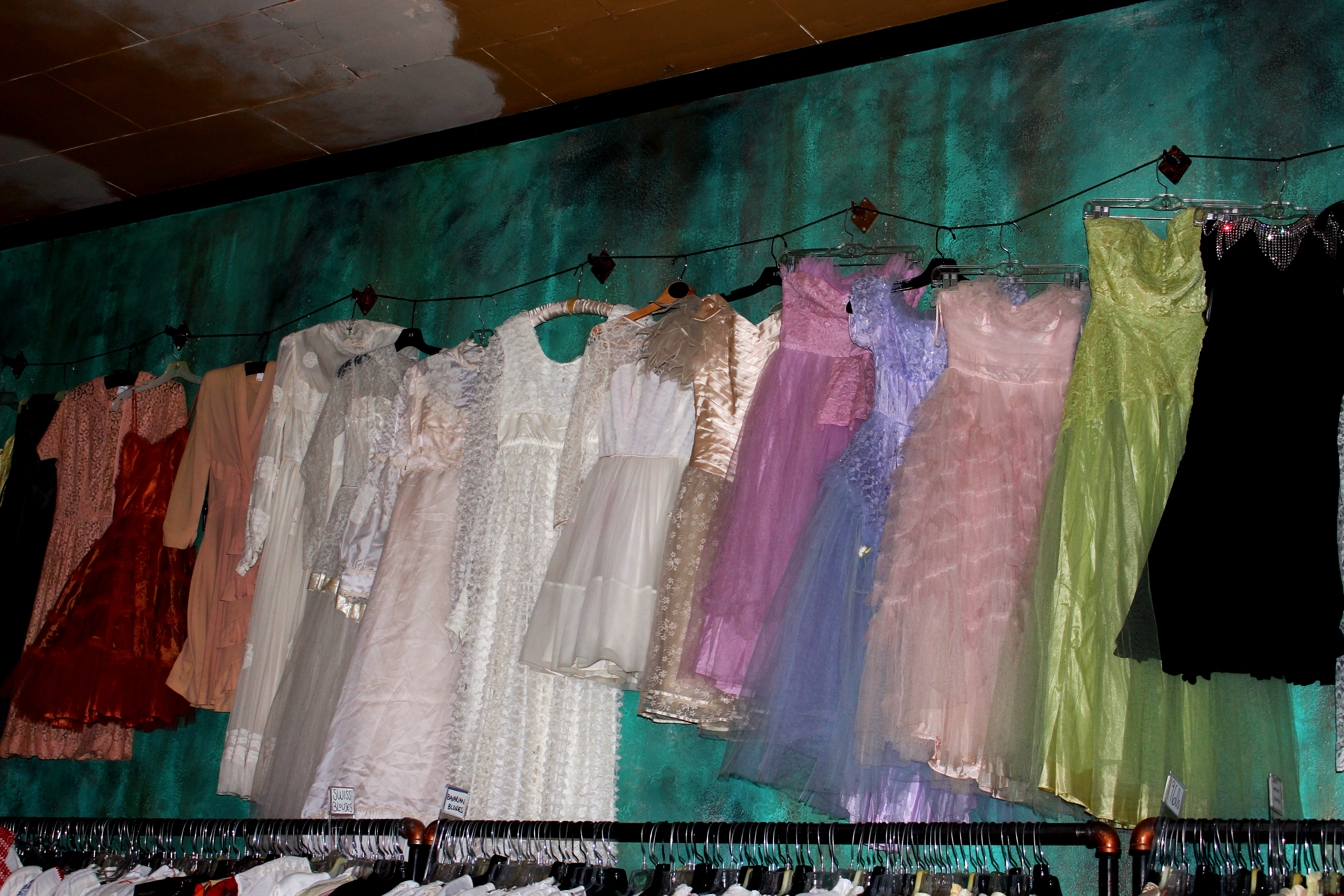 More dresses and costumes are hung on the walls. Credit: Fiona Belk / M-A Chronicle.