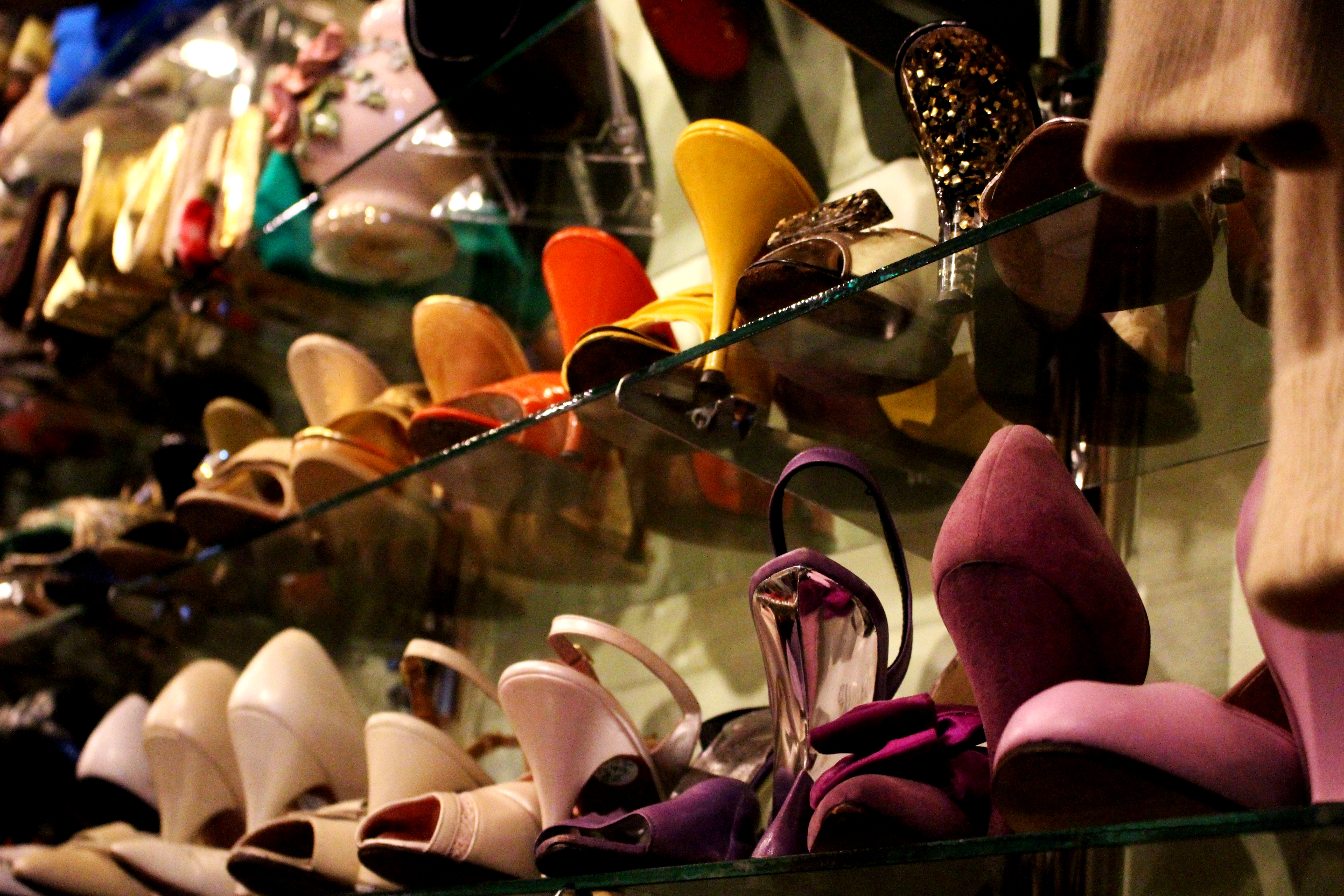 Heels are stored on a shelf. Credit: Fiona Belk / M-A Chronicle.